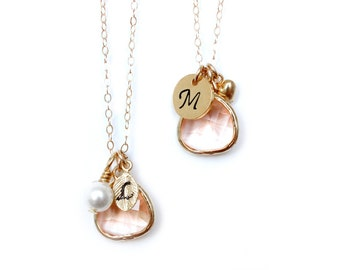 Bridesmaid Necklace / Champagne Necklace / Peach Bridesmaids Necklace / Initial Necklace / Customizable Necklace / Gold blush bridesmaid