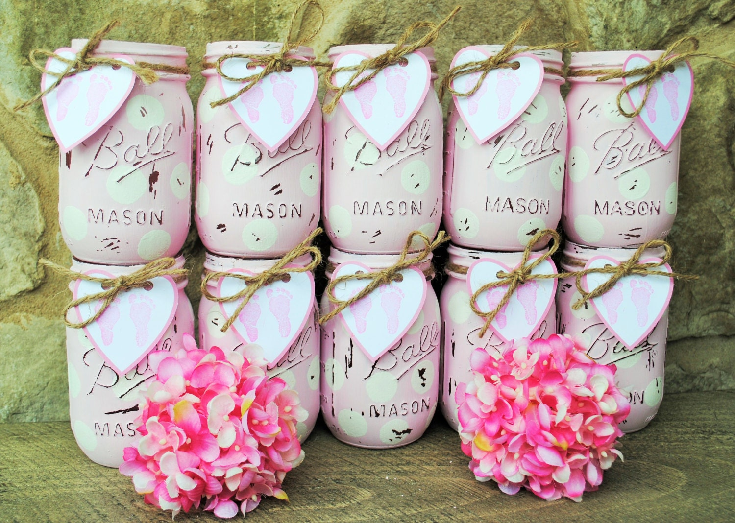 mason jar baby girl shower centerpieces shabby chic painted