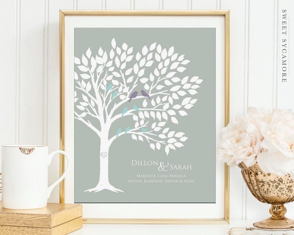 Family Tree Wedding Gift: Blended Family Tree Art Print Wedding Gift By SweetSycamore
