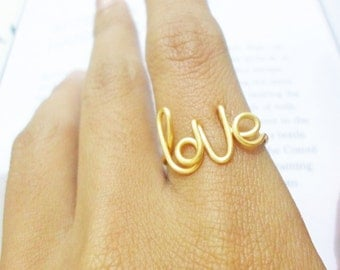 Gold Wire Love Ring / Gold Love Wire, Love Jewelry, Bridesmaids Gifts, Best Friend Ring, Girl friend gift,Girls rings //