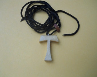 Wood Tau Cross Necklace