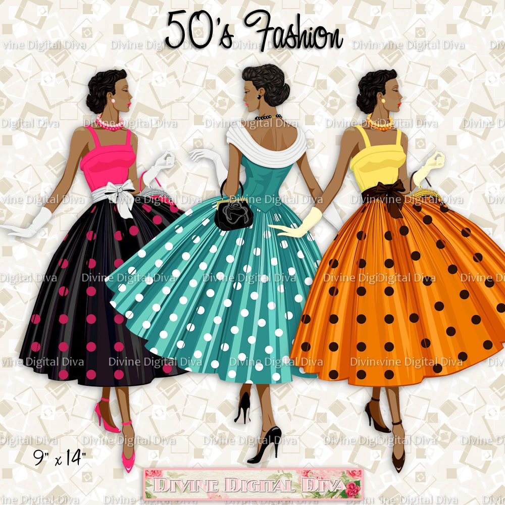 12 Ladies of Color 50s Fashion Polka Dot Dress ...