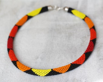 Geometric Necklace, Colorful Necklace, Multicolored Necklace, Bead Crochet Necklace, Maasai Style Necklace, Zulu Necklace-MADE TO ORDER
