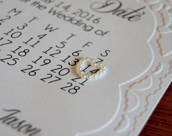 Simple Embossed Lace Save The Date Invitation