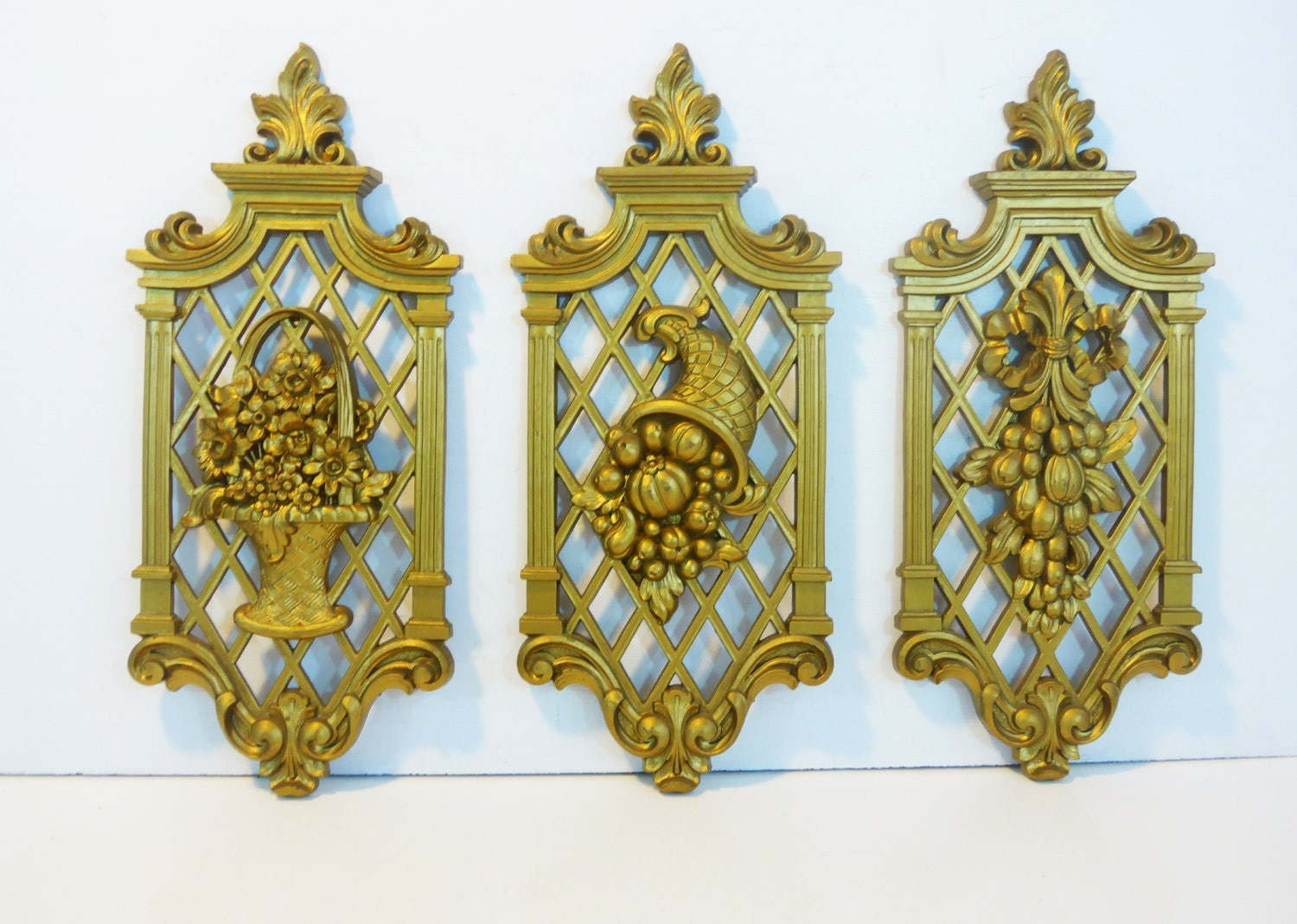 Set 3 Vintage Gold Ornate Dart Wall Hangings Dated 1971 Mid