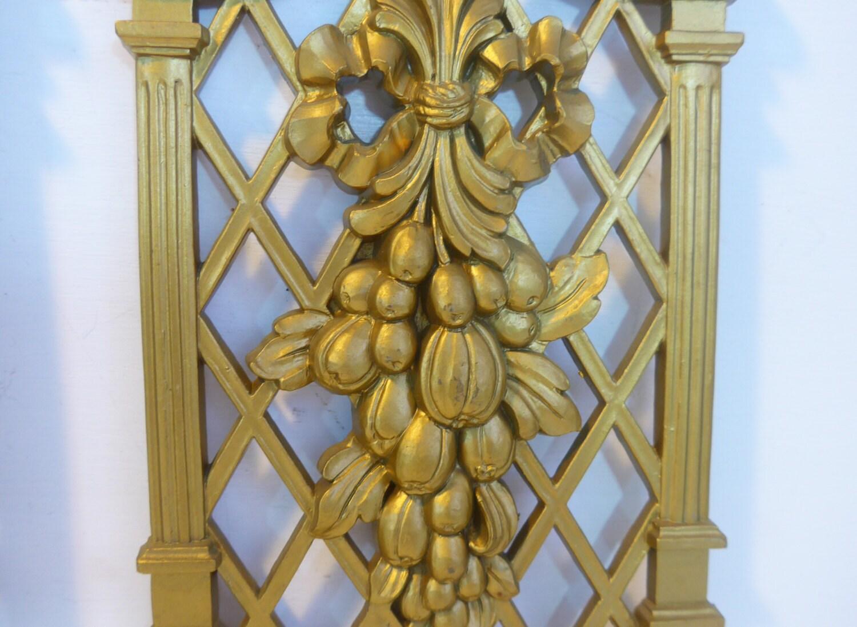 Set 3 Vintage Gold Ornate Dart Wall Hangings Dated 1971