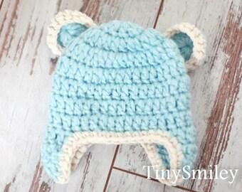 Blue Bear Hat, Earflap Bear Hat, Baby Hat with Ears, Crochet Bear Hat, Baby Bear Beanie, Teddy Bear Hat, Bear Baby Outfits, Newborn Bear Hat