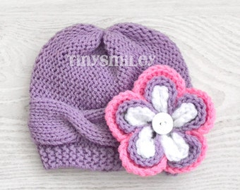 Knit Baby Hat, Cable Baby Girl Hat, Lavender Cable Baby Hat, Flower Lilac Knit Hat, Newborn Girl Cable Hat, Hospital Girl Hats