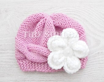 Knit Baby Hat, Cable Baby Girl Hat, Pink Knit Baby Girl Hat, Cute Baby Hat, Pink Newborn Hat, Hospital Hat, Baby Girl Outfit