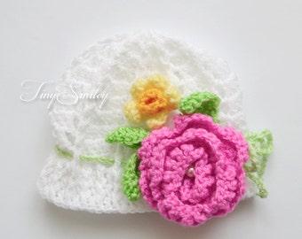 White Baby Girl Hat, White Crochet Baby Girl Hat, Spring Baby Hat, Pink Crochet Baby Hat, Two Flower Baby Girl Hat, Newborn Hat, Photo Prop