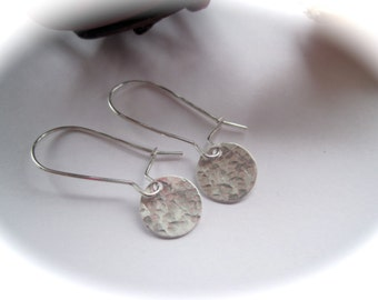 Sterling Silver Hand Stamped Round Earrings