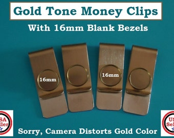3,6 or 12 pcs) Gold Blank Money Clips + 16mm Epoxy Domes DIY Craft Jewelry Findings Mens Gift Money Clip Cabachon Rhinestone