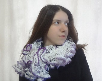 Women's Spring Ruffles White With Purple Hues Scarf - Hand Knit Accessory