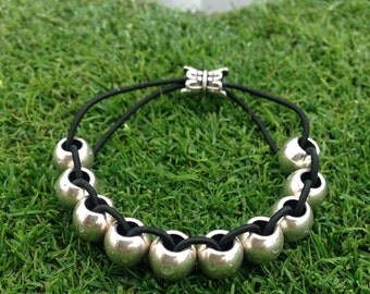 Golf Stroke Counter Bracelet - The Classic - Stylish Silver Metal - Move each bead - Lower Handicap Score - Tournament - Golf Gift for Women