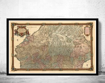 Old Map of Pyrenees Pirineus 1730 France Spain