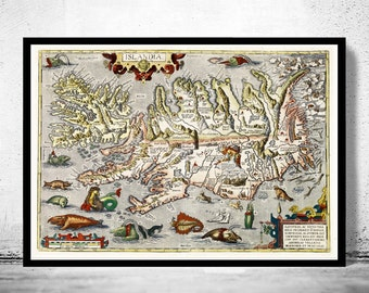Old Map of Iceland islandia 1542 Island Sea Monsters