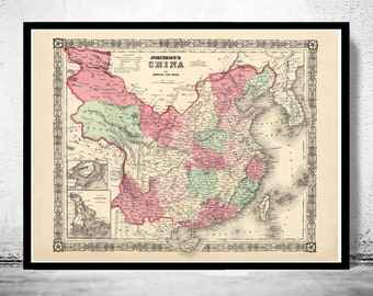 Old Map of China 1865