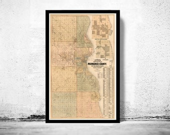 Old Map of Milwaukee County and City 1893 Vintage map