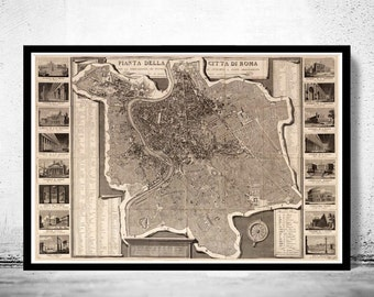 Vintage Map of Rome Roma, Italia 1843 Antique map of Rome