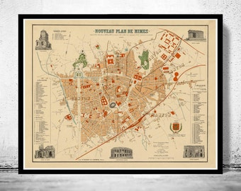 Old Map of Nimes  France 1896