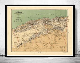 Old Map of Algeria Algerie 1884 Vintage map