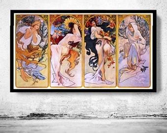 Vintage Poster four seasons 1895