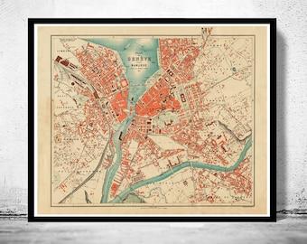 Old Map of Geneve Geneva Switzerland 1908