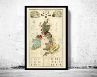 Old Map of United Kingdom Geological palaeontological 1854 British Isles