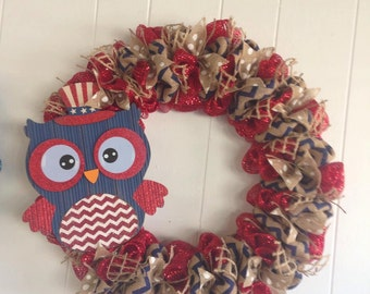 Owl red white and blue wreath