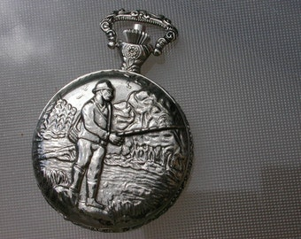 French vintage silver  pocket watch chain fisher watch hunting dog hunt hunting ornate Novi vintage french pocket watch pendant