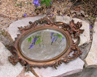 French vintage ornate ornate empire style frame Mirror flower rose butterfly leaf gold mirror glass antique bronze
