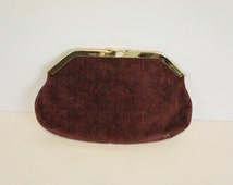 Vintage suede and leather clutch hinged frame Socialites gold clasp purse handbag evening bag maroon burgundy