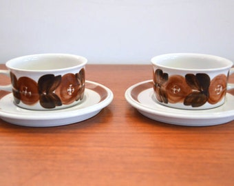 Vintage Mugs and Saucers by Arabia Finland in Rosemarin Style
