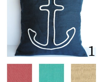 One nautical pillow cover, cushion, decorative throw pillow, decorative pillow, nautical decor, sail cover