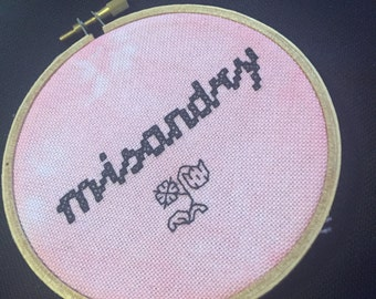 "Embroidery Hoop Art ""Misandry"" Black on Raspberry-Pink Hand-Dyed"