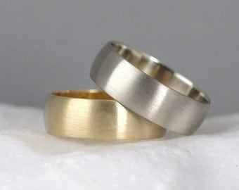 6mm 14K Gold Wedding Band – Men's or Ladies Wedding Rings – Matte Finish – Yellow or White Gold – Commitment Rings – Classic Rounded Bands