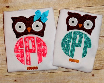 Matching owl sibling shirts Brother and sister fall owl clothing Girl and boy matching shirts with owls Monogrammed initial tops
