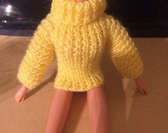 Sindy / Barbie hand knitted turtle neck jumper - various colours made to order