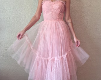 1950's Pink Tulle Strapless Party Dress with Rhinestone Detail