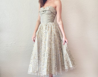 1950's Gold Strapless Party Dress // Polka Dot Tulle // Gorgeous Details