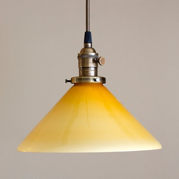 Yellow Pendant Light Fixture Amber Glass Cone Shade 10