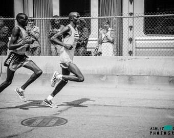 Black and White Runners at 2014 Boston Marathon Photo / Boston Photo / Travel Photography / Home Decor Wall Art / Massachusetts Photography