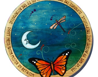 "18"" Lazy Susan with butterfly, gilded dragonfly Hand painted"