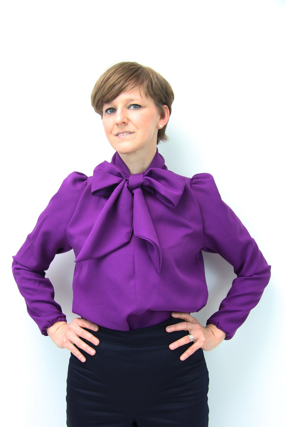 long sleeve purple blouse bow tie women shirt by JolyDagmara