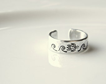 Sea Turtle ring with waves. Hand stamped custom made. Salt Life, beach ring.