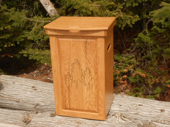 Solid Hardwood Custom Trash Can