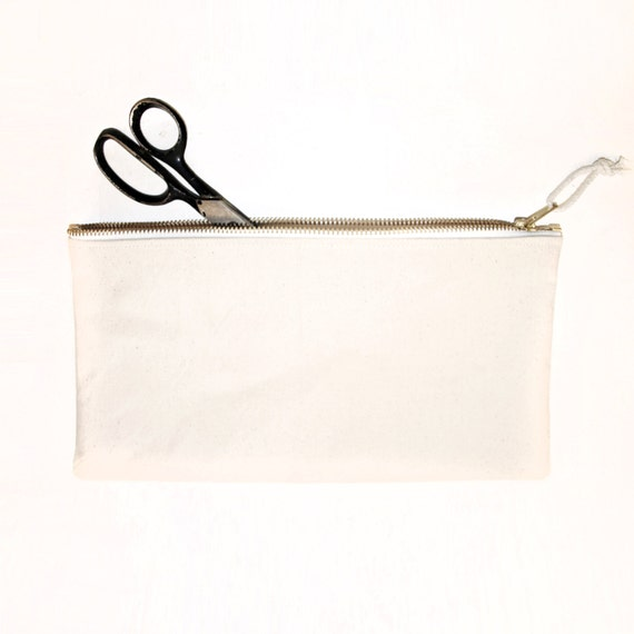 Custom order heavy duty natural canvas zipper bags bulk