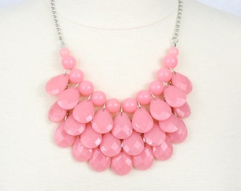 Statement Necklace Teardrop Necklace Multi Layered Necklace Chunky Necklace Cotton Candy Pink