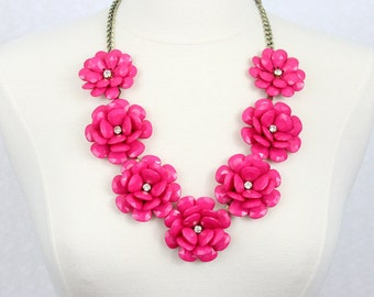 Beaded Rose Necklace Flower Statement Necklace Fuchsia Hot Pink Big Flower Necklace