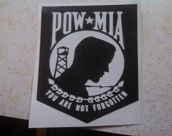 Pow Mia Sticker ( Prisoner of War  Missing in Action window vinyl decal